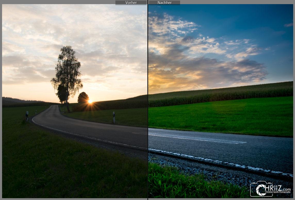 Straße mit Sonnenuntergang Vergleich | Nikon D5300