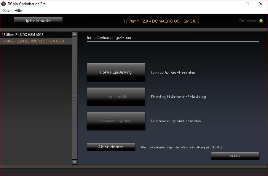 Sigma USB Dock Individualisierungs-Menü